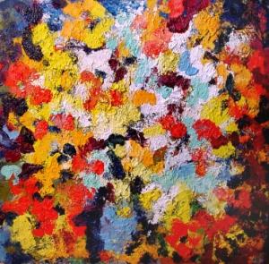 """Арон Бух. """"Цветы"""" 80х80, х.м., 1999г."""